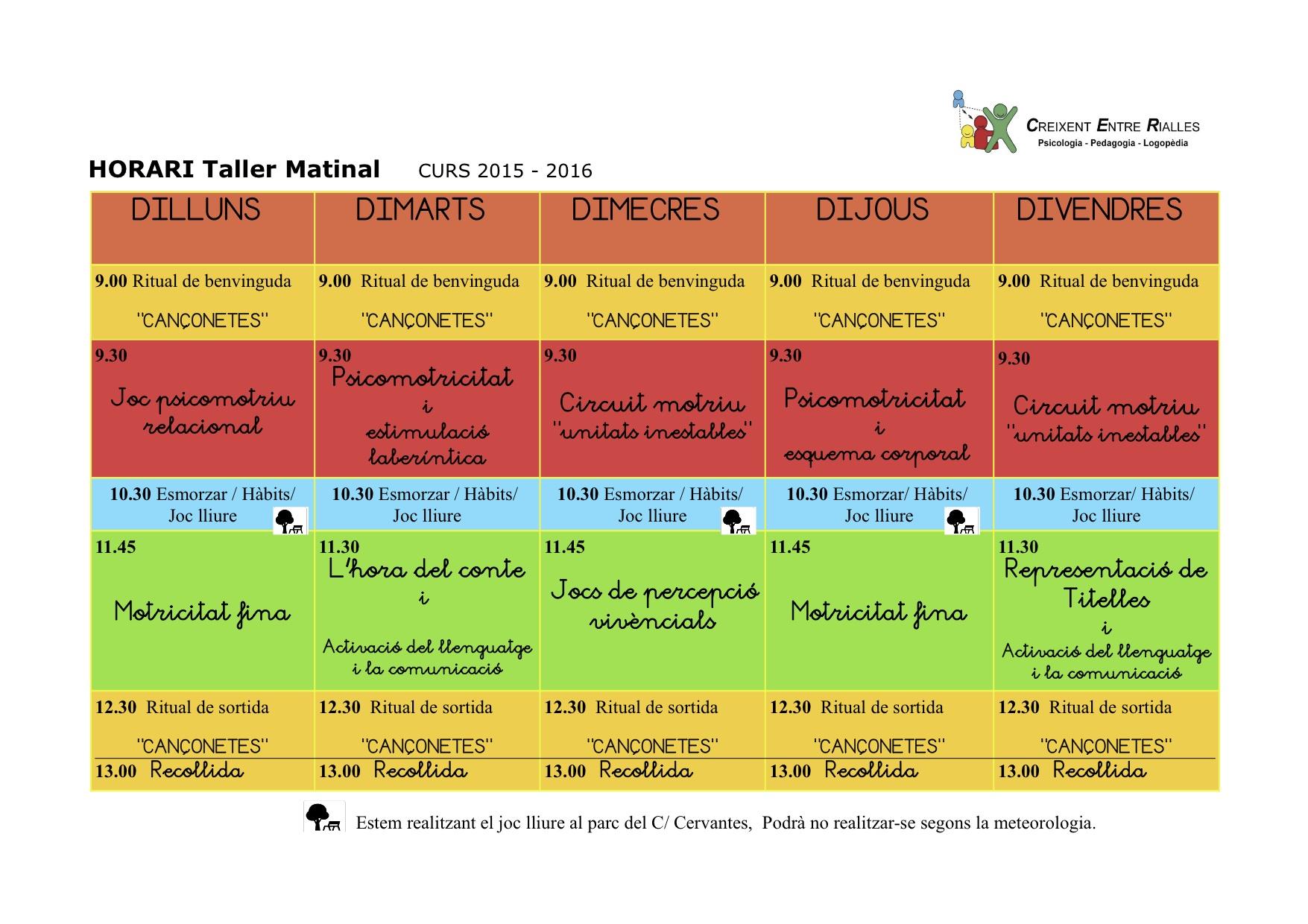 HORARI Taller matinal 2015-2016 jpg